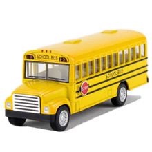 Alloy Emulational Car Model Toys, Classic School Bus, Brinquedos Miniature Pull Back Cars,Doors Openable(China)
