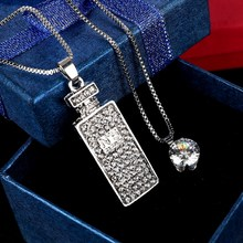 Perfume Bottle Necklace Long Pendant Brand Crystal Chain New 2017 Zinc Alloy Girl Women Fashion Jewelry Statement Accessories