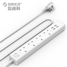 ORICO OSC-4A4U 5V4.0A20W 4 USB Ports 4 AC Outlets Surge Protection Intelligent Power Strip White UK Plug Extension Socket(China)