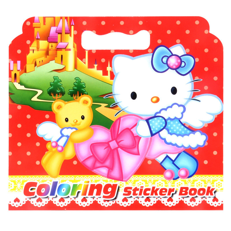 1pc 16Pages New Cute KT Cat Coloring Sticker Book For Children Adult Relieve Stress Kill Time Graffiti Painting Drawing Art Book(China)