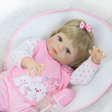 55cm Full Silicone Reborn Baby Doll Toy Newborn Girl Babies Doll Lovely Birthday Gift Fashion Play House Bathe Toy Girl Brinqued(China)