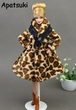 Doll Clothes Fashion Coat Winter Wear Clothing Leopard Outfit Clothes Dress For Barbie Doll Best Gift For Girl' Doll Snowsuit
