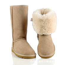 2017 snow boots Sheepskin Boots female warm tube pure wool cotton boots Genius leather