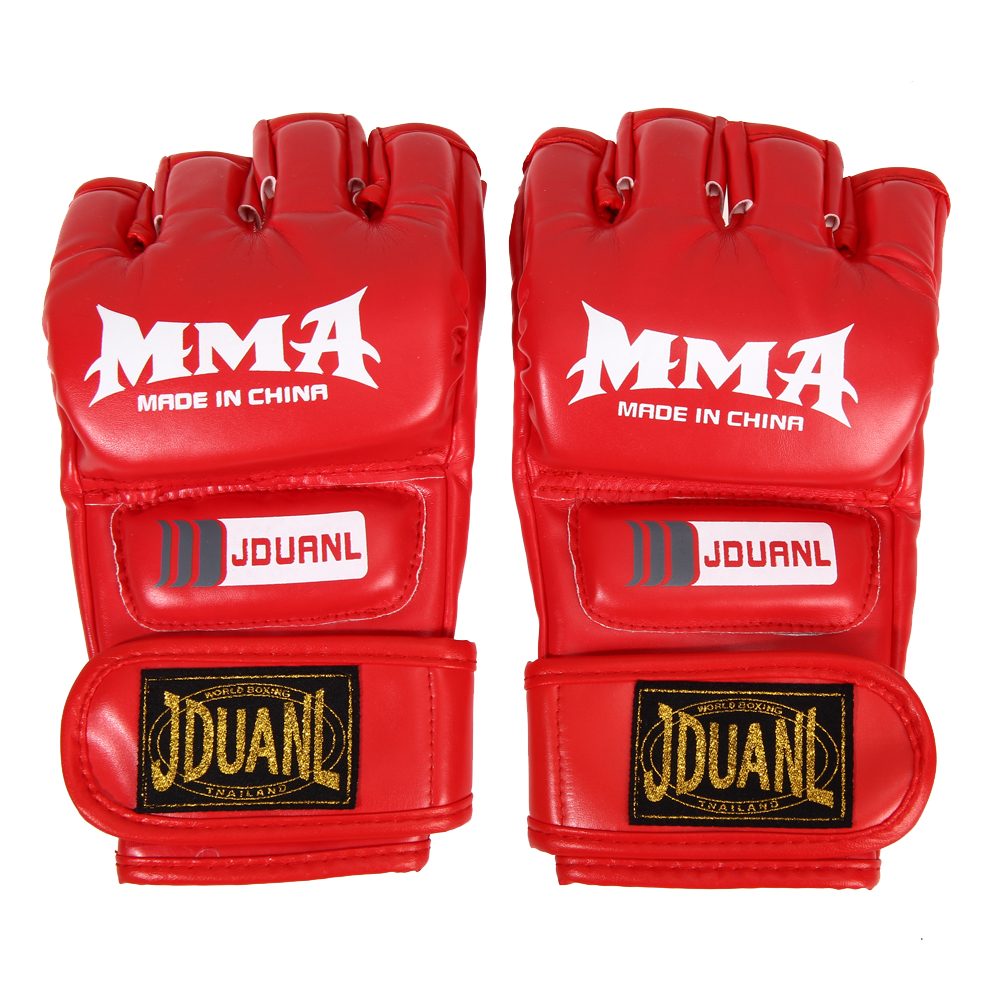 Boxing Gloves MMA Gloves Muay Thai Training Gloves MMA Boxer Fight Boxing Equipment Half Mitts PU Leather Black/Red 6