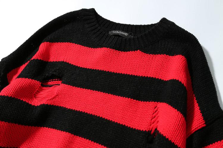 Ripped Stripe Knit Sweaters 3