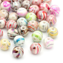 DoreenBeads Hot Sale Acrylic Spacer Beads Round At Random AB Color Stripe for DIY 8mm Dia, Hole: Approx 1.5mm, 30PCs 2016 new(China)
