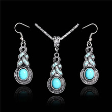 SHUANGR Vintage Women Jewellery Tibetan Silver color CZ Crystal Long Drop Pendant Necklace Earrings Set Round  Jewelry sets