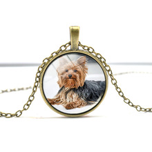 Yorkie necklace, Yorkshire Terrier cute dog pendant Glass Photo dog gift for children Dog Lover