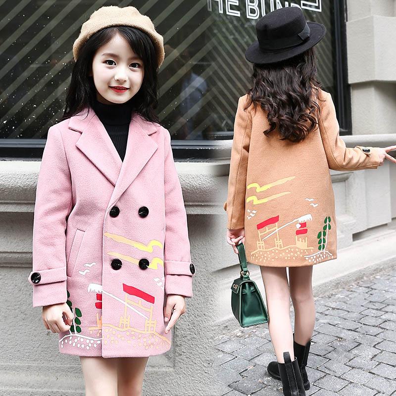 Winter Autumn Kids Outerwear Children Coats For Girls Wool &amp; Blends  Infant Warm Clothes Girls Long Thick Jackets 6 8 10 12 14<br>