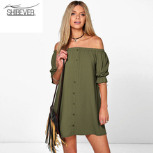 Buy SHIBEVER Women summer Dresses casual party dress strapless sexy woman beach dress solid plus size dresses 2017 ALD92 for $5.35 in AliExpress store