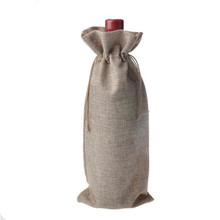 15x35cm 10pcs Single bottle stamping jute wine gift covers bags wine pouches wedding Party favor bomboniere Gift Pouches