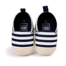 Lastest Lovely Unisex Baby Striped Shoes Boy Girl First Walker Soft Sole Footwear Canvas Shoes DH(China)