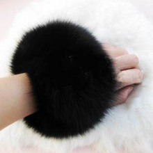 Lady genuine Fox fur cuff sleeves fox fur wrist length overcoat cuff hand ring(China)