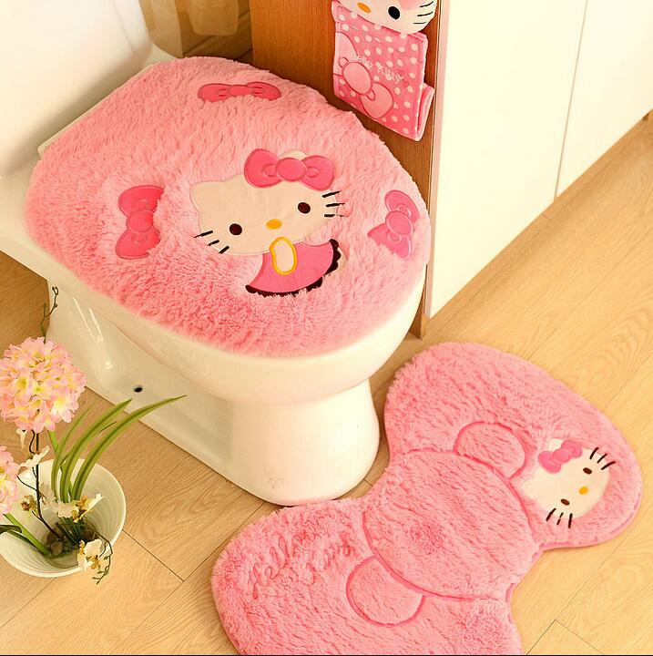 4pcs Set Hello Kitty Bathroom Toilet Seat Cover Wc Bath Mat Holder Closestool Lid Christmas Home Decor In Covers From