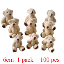 1 lot/1pack/100pcs 6cm Mini Joint Bear Plush toys Wedding gifts Kids Cartoon toys Christmas gifts Couple Gifts Wholesale