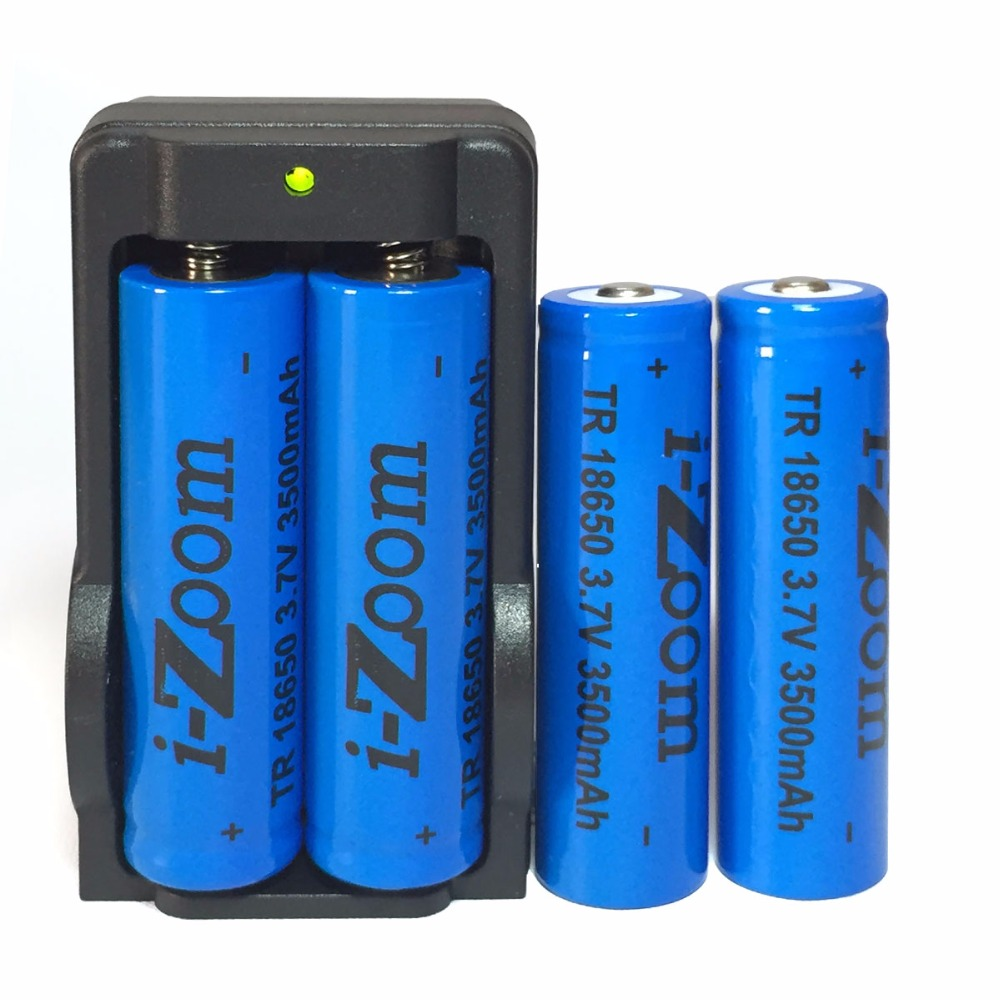 Only USA 4pcs 18650 Lithium li-ion battery 3500mAh 3.7V Rechargeable Batteries for LED Flashlight 301/303 Laser Pen with Charger(China (Mainland))