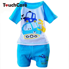 100% Cotton Baby Boys Girls Clothing Set Children Shirt + Pants Set Kids Cartoon Clothes Casual Suits 5 Design 2015 Summer(China)