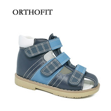 Russian market hot selling black and blue boys orthopedic shoes closed toe genuine leather sandals for boys