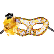 Gold Floral Pattern Venetian Masquerade Ball Masks Flower Princess Mask Fancy Dress Halloween Party Costume Lace Eye Masks