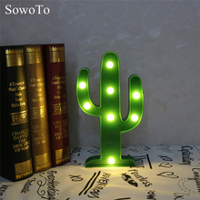 SowoTo Newest Green Cactus Plastic LED Night Light Battery Nightlights For Kids Rooms Children Cute Bedroom Gift Lamp luminarias(China)
