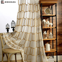 New honeycomb embroidery voile window curtains panels gold color translucidus sheer tulle process finish size for livingroom