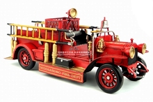 Antique classical American fire truck model retro vintage wrought metal crafts for home creative decoration, iron art(China)