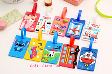 Kawaii UP 10Models Cartoon , 16CM Silicone Travel Luggage Tag Case TAG ; Label Name Cards TAG Holder Pouch(China)