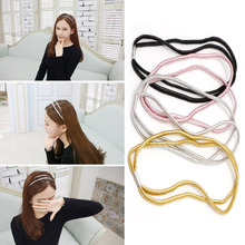 Trendy Elastic Double Headband Head Piece Hair Band Jewelry Lady Hairband Rope