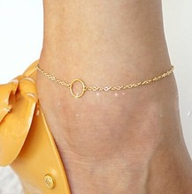 New Simple Gold Plated Circle Anklets For Women Beach Foot Jewelry Wholesale JL0036