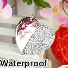 Waterproof Diamond Heart Necklac Pendrive 64gb Memoria Usb Drive Creativo Pen Drive 2TB 1TB 16gb 32gb Memory Stick Card Gift 2.0(China)
