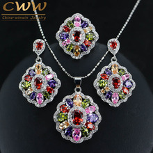 CWWZircons Cubic Zirconia Indian Silver 925 Jewelry Sets For Women MultiColored Big CZ Ring Necklace And Earring Ladies T261(China)