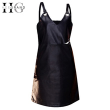 Buy HEE GRAND 2017 Spring Chic Fashion Black PU Leather Tank Dress Casual Mini Hollow Ring Short Slim Sexy Dress A-line WQD752 for $24.90 in AliExpress store