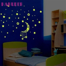 Kakuder Colorful Stars Luminous Fluorescent 3D Wall Stickers PVC Home Decor For Kids Rooms #10 2017 Gift Drop