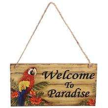 Hawaii Beach Themed Party Welcome To Paradise Hanging Board Rectangle Wood Hanging Wall Sign Decoration(China)