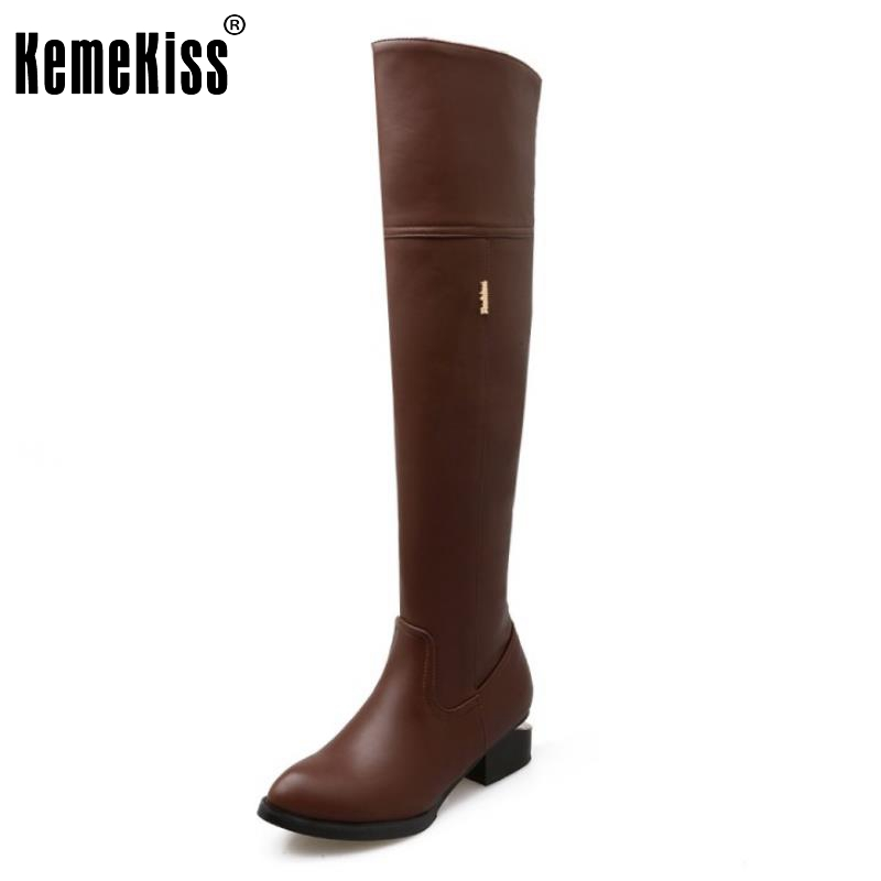 New Fashion Female Pointed Toe Over Knee Long Boots Women Square Heel Shoes Woman Brand Autumn Winter Knight Boot Size 34-46<br>