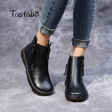 Tastabo Martin Boots Genuine Leather Ankle Boots Flat 와 Vintage Casual Shoes Brand Design Retro Black Zipper Women Boots Lady(China)