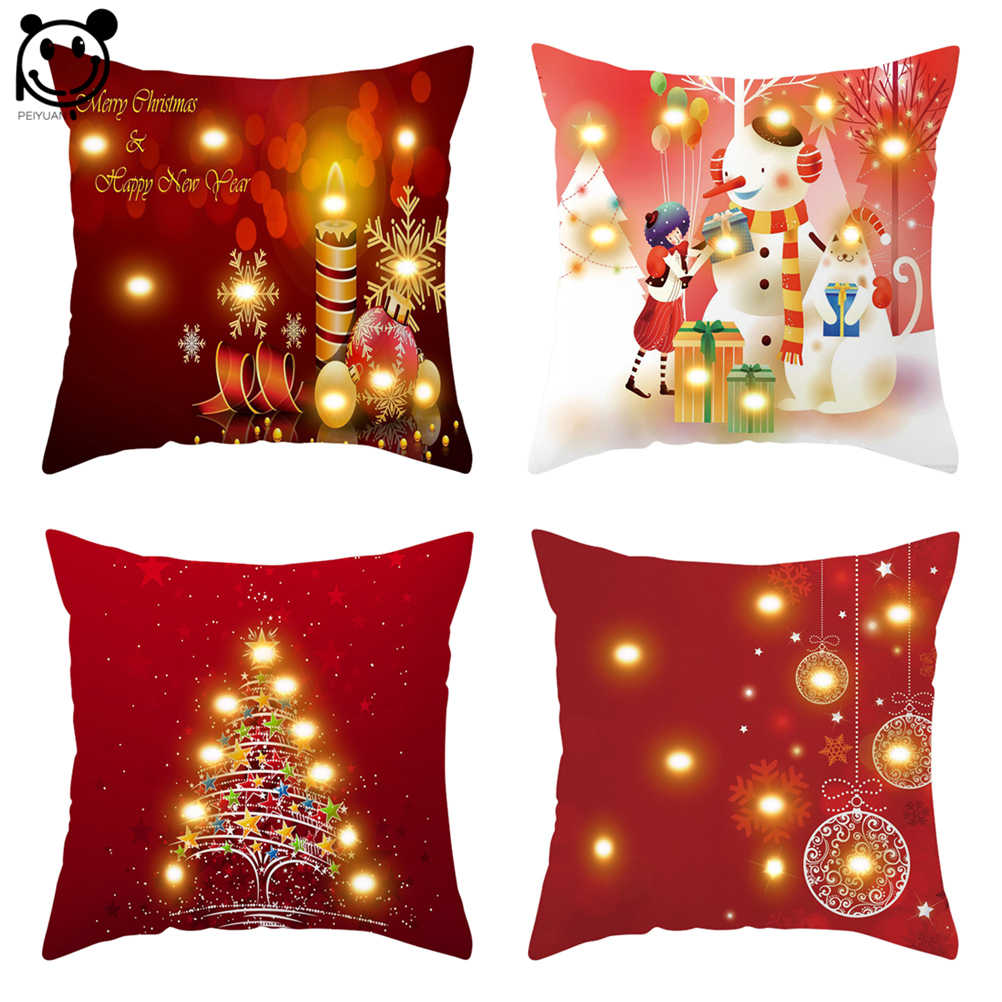 Christmas LED Pillow Cushion Cover Xmas Festival Party Home Ornaments Pillowcase