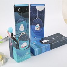 Novelty Cute Cartton Polar Bear Starry Sky Transformable Paper Pencil Case Pen Box Pencil Vase Stationery Box with Mirror