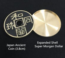 Morgan Dollar Expanded Shell+Japan Ancient Coin Magic Set Coin Appearing Tricks Professional Close up Magic