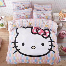 mosaic hello kitty girls boutique bedding set duvet cover bed sheet pillow case queen/full/twin size,boutique linen for kids