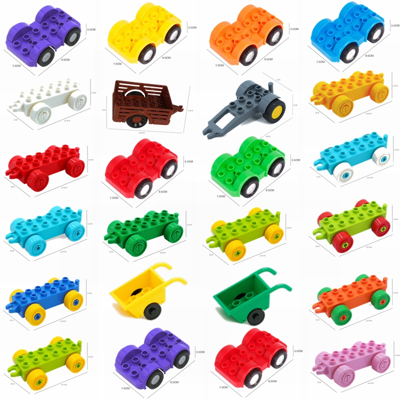 Mailackers Duplo Trailer Car Motorcycle Boat Truck Vehicle Accessories Parts Set Big Building Block Toy Compatible Duploe Cities
