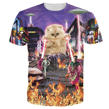 Fashion Kitten Cat T Shirts 3d Women Men Tees Killer Laser Kitty T-Shirt Funny Animal Cat Design Tee Tops Summer Style Dropship
