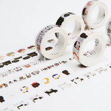 DIY Cute Kawaii Decorative Washi Tape Lovely Cartoon Cat Tape For Home Decoration Photo Album Diary Free Shipping 3606