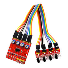 Four-Way Infrared Tracing 4 Channel Tracking Sensor Module Transmission Line Modules Obstacle Avoidance for Arduino