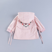 2017 Baby Girls Embroidery Coat Solid Color Long Sleeve Cotton Hoodies Boys Outwear KIds Clothes(China)