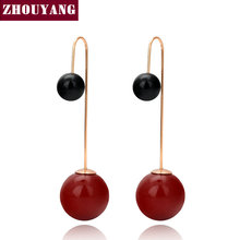 Top Quality Red / White Imitation Pearl Rose Gold Color Drop Earring Jewelry Wholesale ZYE764 ZYE768