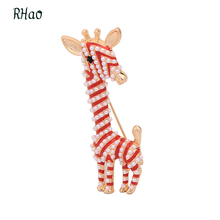 RHao Cute Kids Animal Brooches Christmas birthday jewelry brooch pins Red Enamel pin pearl giraffe Brooch broches for women kids
