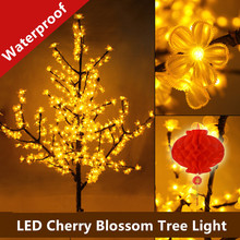 1.5M LED Crystal Cherry Blossom Tree Light Christmas New Year Wedding Luminaria Decorative Tree Branches Lamps Indoor Lighting(China)
