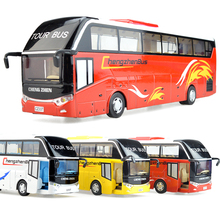Tourist bus car pull back light acousto-optic alloy model simulation of children's kid toys christmas new year gift collection