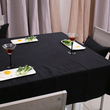 Cotton Linen Black Tablecloth Nappe Table Cover for Banquet Wedding Party Decor Toalha De Mesa Hotsale